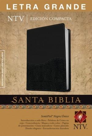 Biblia compacta. Letra grande. 2 tonos. Negro/ónice - NTV