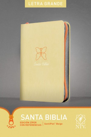 Biblia grande. Letra grande. Ultrafina. 2 tonos. Beige. Cremallera - NTV