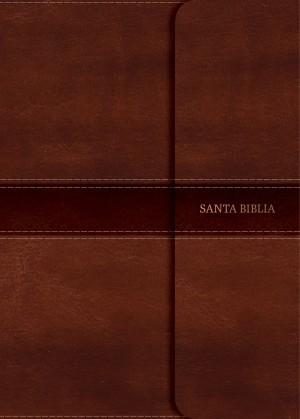 Biblia manual. Letra grande. 2 tonos. Marrón. Broche. Índice - NVI