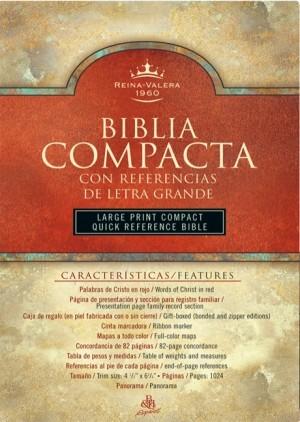 Biblia compacta referencias. Letra grande. Piel especial. Rojo - RVR60