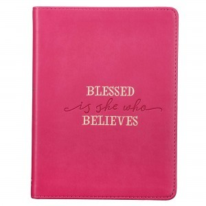 Diario Blessed is she who believes. Imitación piel. Fucsia
