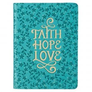 Diario Faith, Hope, Love. 2 tonos. Turquesa floral (inglés)