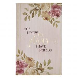 Diario Jeremías 29:11. Plástico. Marfil floral