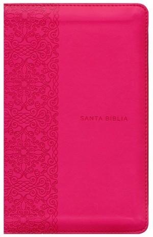 Biblia manual. Letra grande. 2 tonos. Fucsia. Cremallera - RVR60