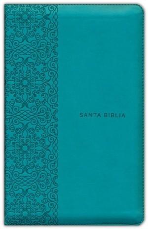 Biblia manual. Letra grande. 2 tonos. Turquesa. Cremallera - RVR60