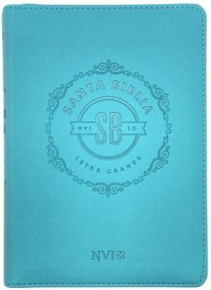 Biblia compacta. Letra grande. 2 tonos. Turquesa. Cremallera - NVI