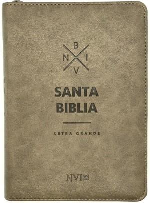Biblia compacta. Letra grande. 2 tonos. Marrón. Cremallera - NVI