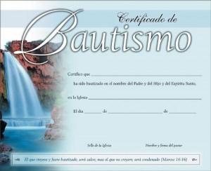 Certificado - Bautismo (pack de 20)