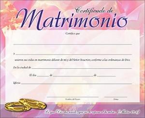 Certificado - Matrimonio (pack de 20)